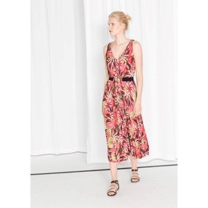 & Other Stories floral tropical pink midi dress